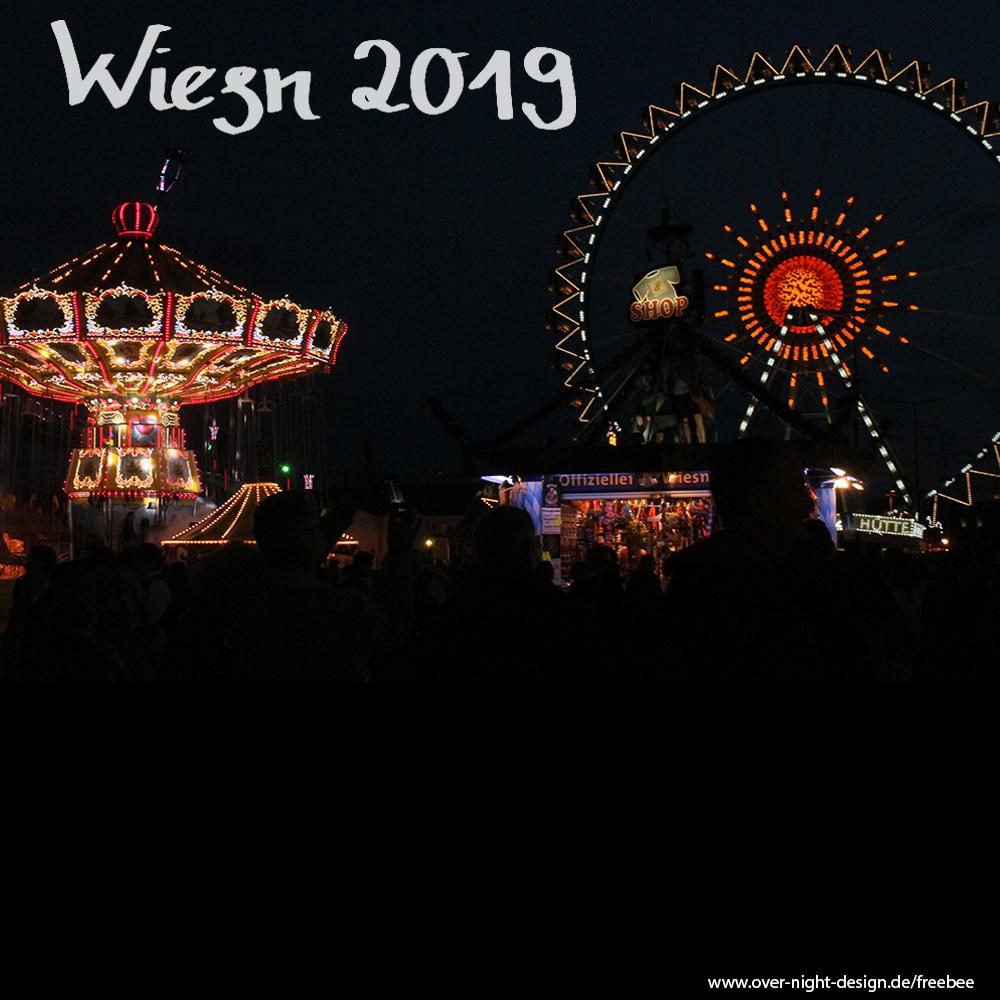 Riesenrad + Kettenkarusel bei Nacht (zwei Bilder) - Wiesn 2019