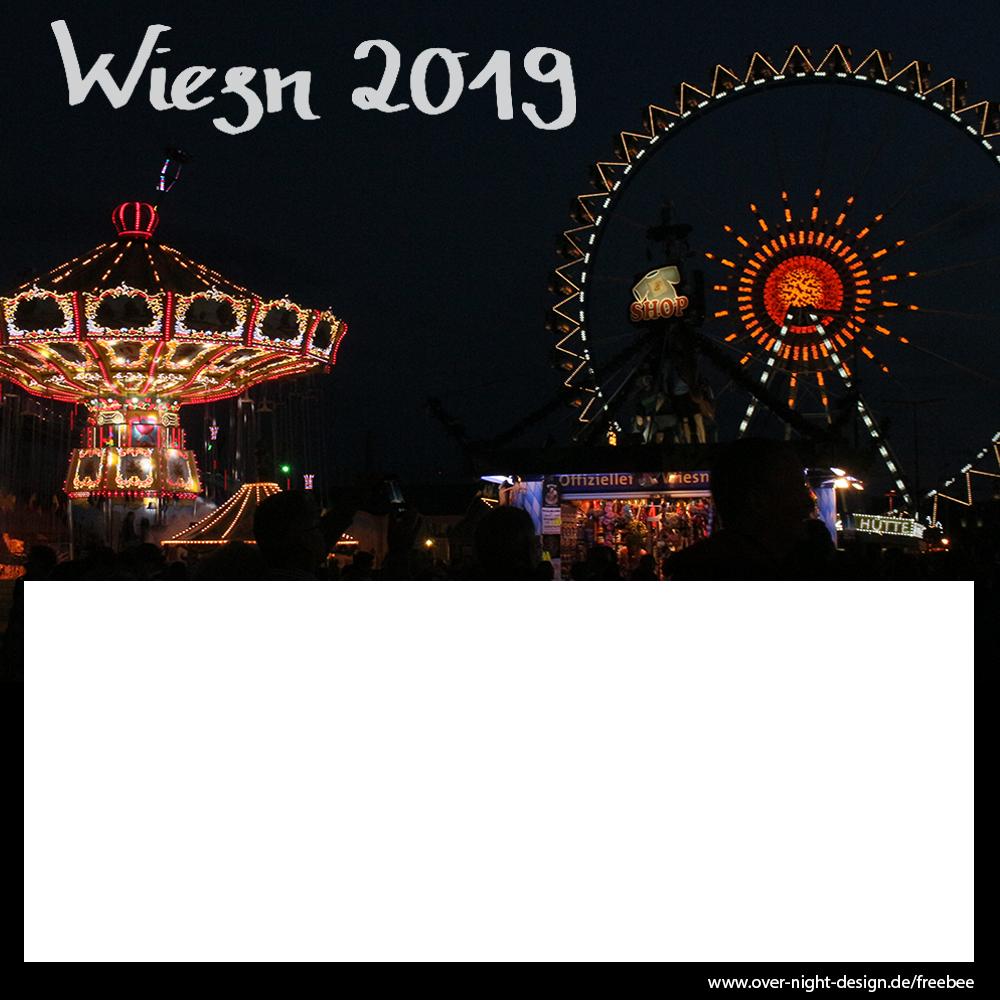Riesenrad + Kettenkarusel bei Nacht (ein Bild)- Oktoberfest 2019